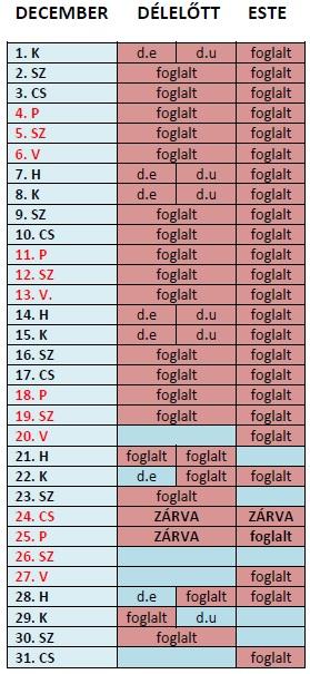 aktuális bérlés naptár